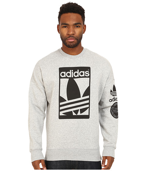 adidas Originals - Street Graphic Crew (Medium Grey Heather/Black) Men