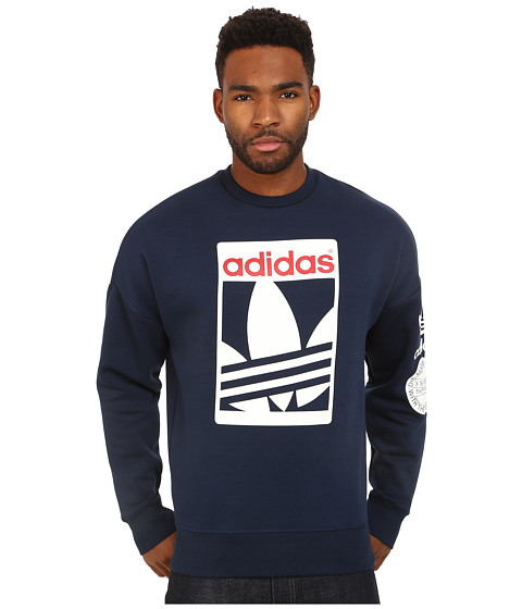 adidas Originals - Street Graphic Crew (Collegiate Navy/White/Scarlet) Men's Sweatshirt