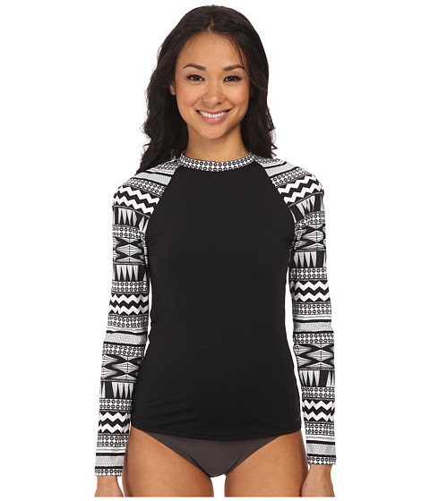 Seafolly - Future Tribe Long Sleeve Sunvest (Black/White) Women's Swimwear