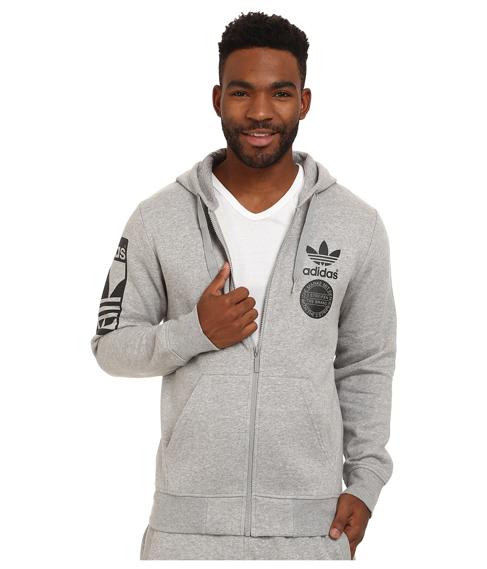 adidas Originals - Street Graphic Full-Zip Hoodie (Medium Grey Heather/Black) Men