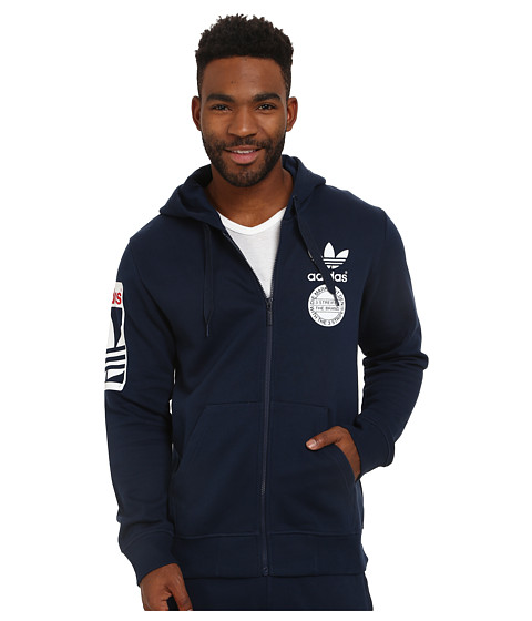 adidas Originals - Street Graphic Full-Zip Hoodie (Collegiate Navy/White/Scarlet) Men