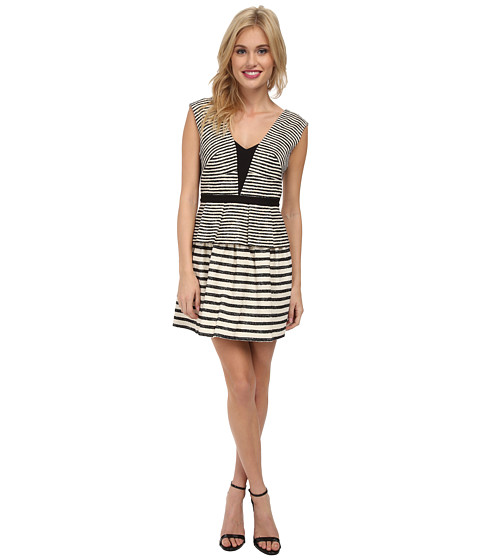BCBGMAXAZRIA - Piper Woven Cocktail Dress (Black/Off White) Women