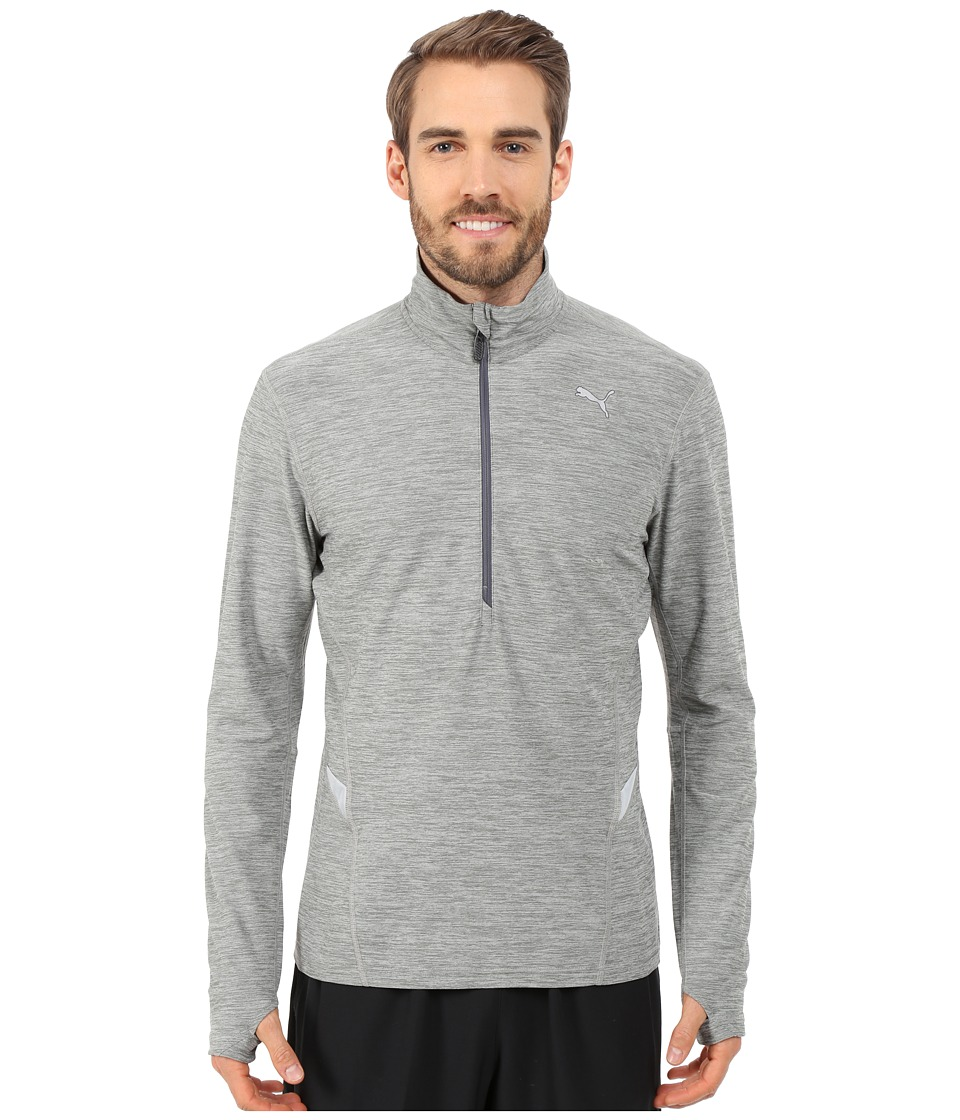 PUMA - Long Sleeve 1/2 Zip Heather Top (Medium Gray Heather) Men
