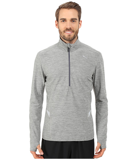 PUMA - Long Sleeve 1/2 Zip Heather Top (Medium Gray Heather) Men's T Shirt
