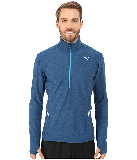 PUMA - Long Sleeve 1/2 Zip Heather Top (Poseidon Heather) Men's T Shirt