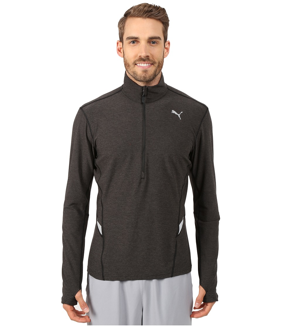 PUMA - Long Sleeve 1/2 Zip Heather Top (Black Heather) Men