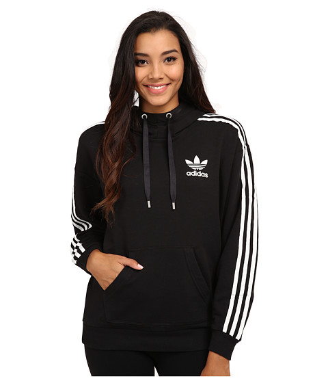 adidas Originals - 3-Stripes Hoodie (Black/White) Women