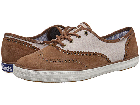 Keds - Champion Brogue (Tan Heathered Wool/Suede) Women