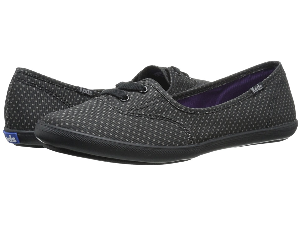 Keds - Teacup Micro Dot (Black/Black Twill) Women's Slip on Shoes