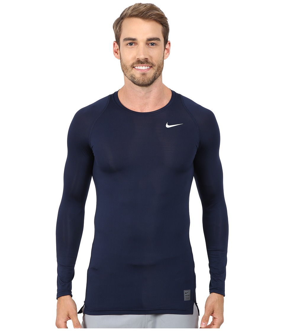 Nike - Pro Cool Compression L/S (Obsidian/Dark Grey/White) Men's Workout