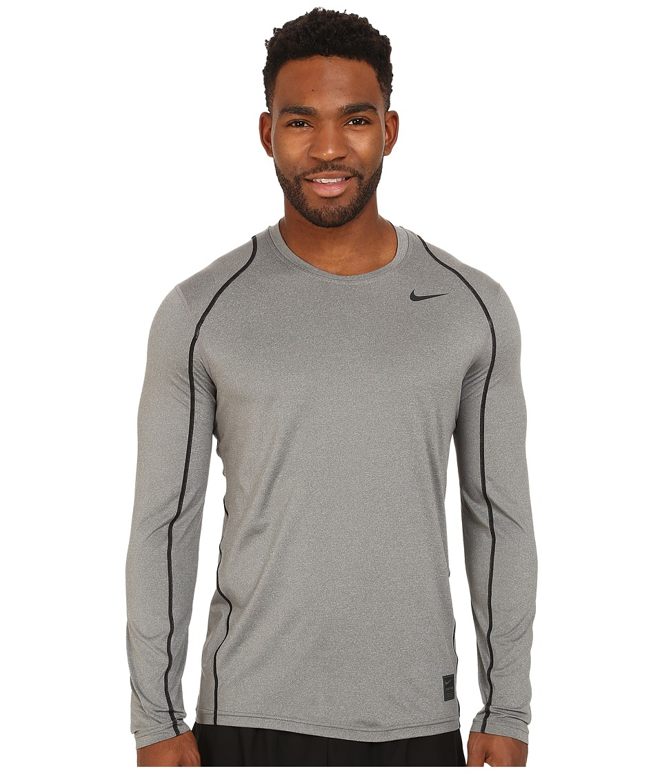 Nike - Pro Cool Fitted L/S (Carbon Heather/Black/Black) Men's Workout