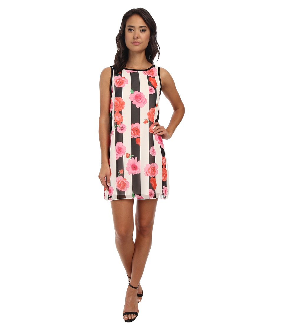 Gabriella Rocha - Lacy Sleeveless Stripe Dress (Pink Flower Print) Women's Dress