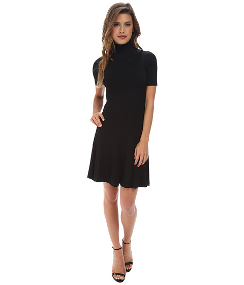 Gabriella Rocha - Hazel Ribbed Turtleneck Skater Dress (Black) Women's Dress