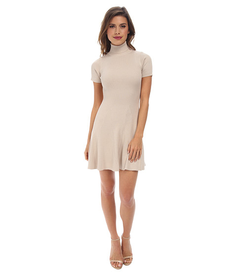 Gabriella Rocha - Hazel Ribbed Turtleneck Skater Dress (Sand) Women's Dress