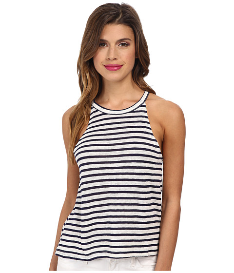 MINKPINK - Stripe High Neck Singlet (Navy/Cream) Women's Sleeveless