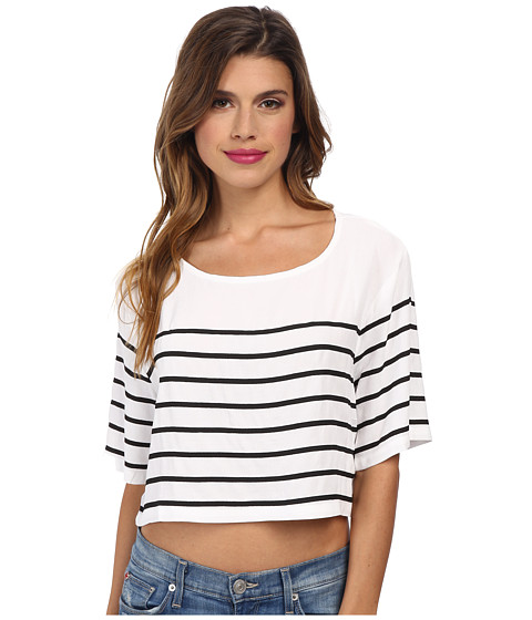 MINKPINK - Butterfly Effect Crop Top (White/Black) Women's Short Sleeve Pullover