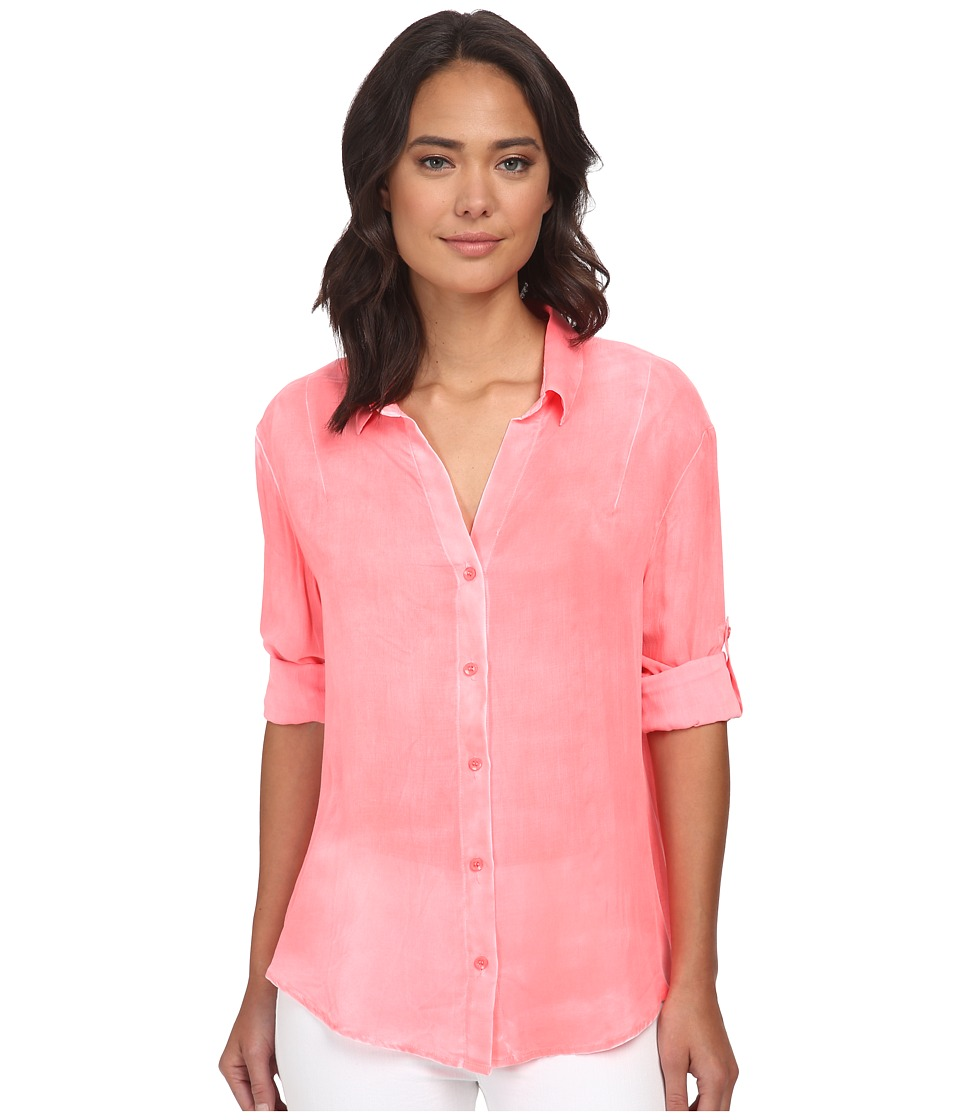 Gabriella Rocha - Penny Button Up Top (Neon Coral) Women's Clothing