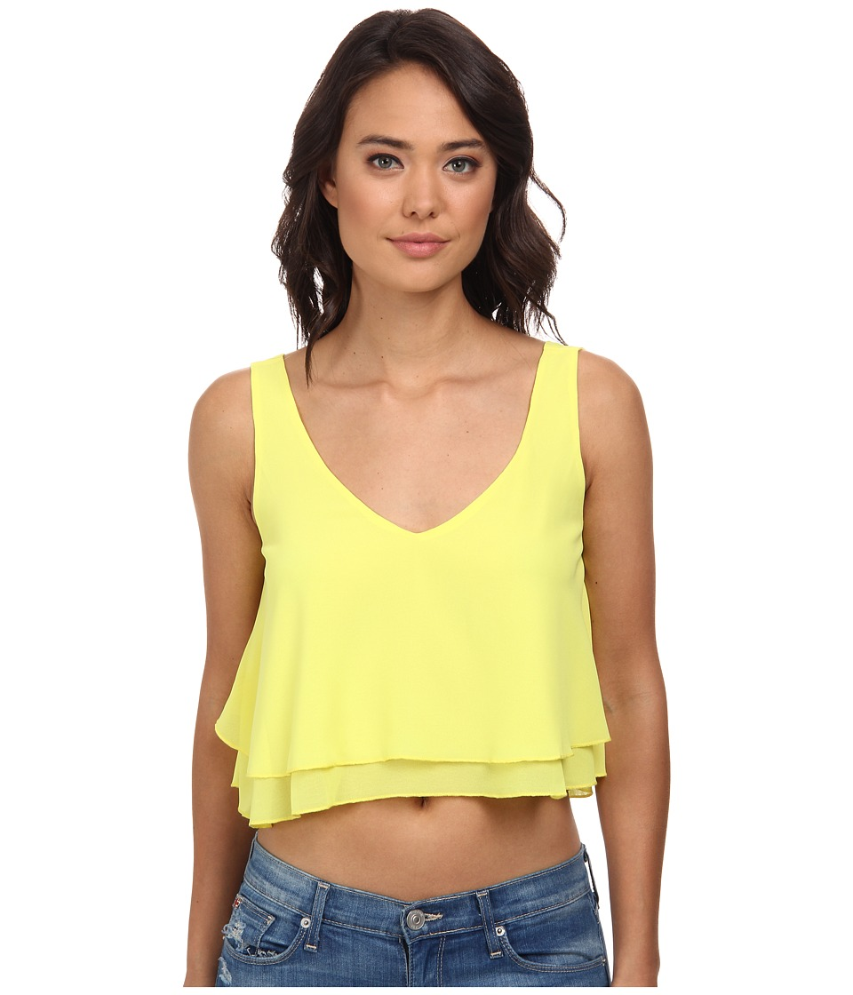Gabriella Rocha - Layla Layered Chiffon Crop Top (Yellow) Women's Clothing