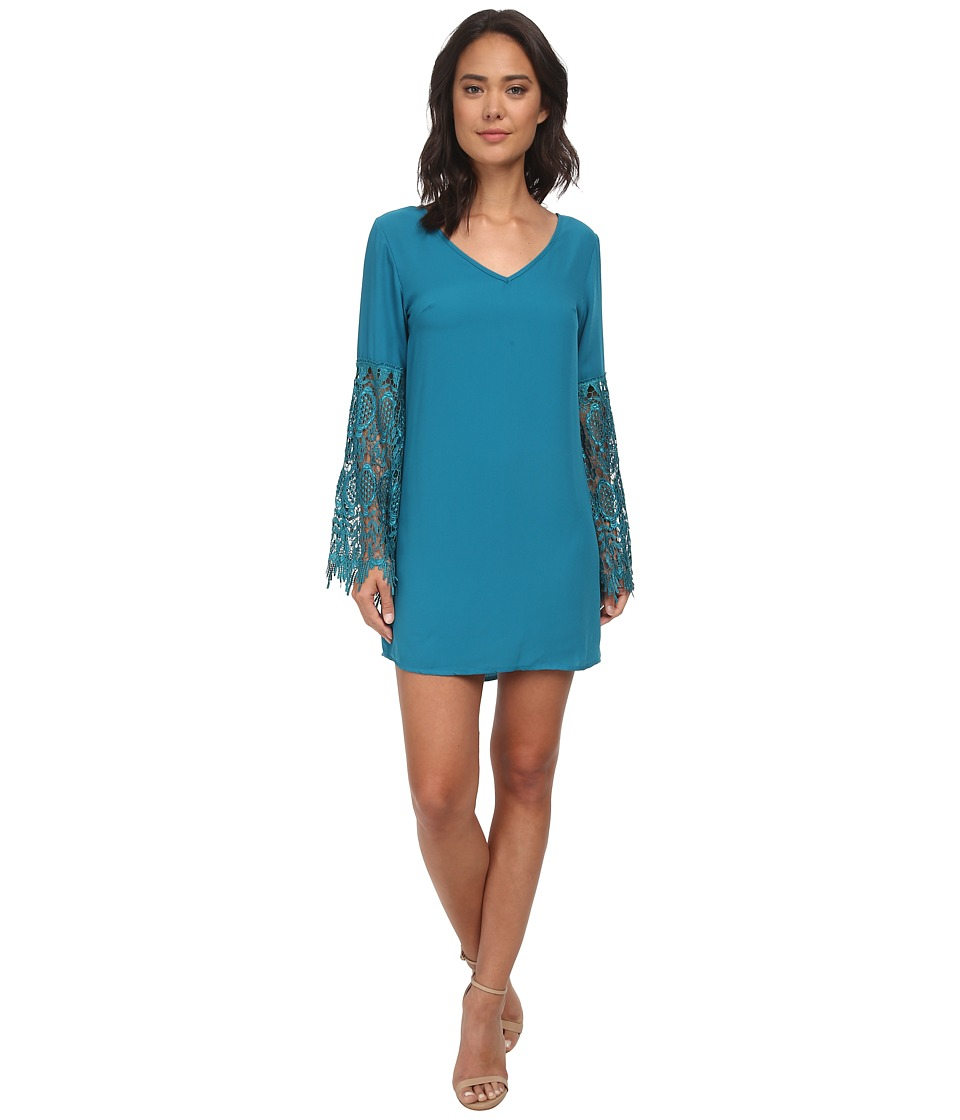 Brigitte Bailey - Lace Sleeve Trim Dress (Teal) Women