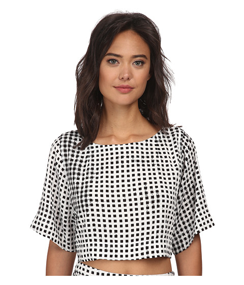 MINKPINK - Gingham Boxy Tee (Black) Women's T Shirt