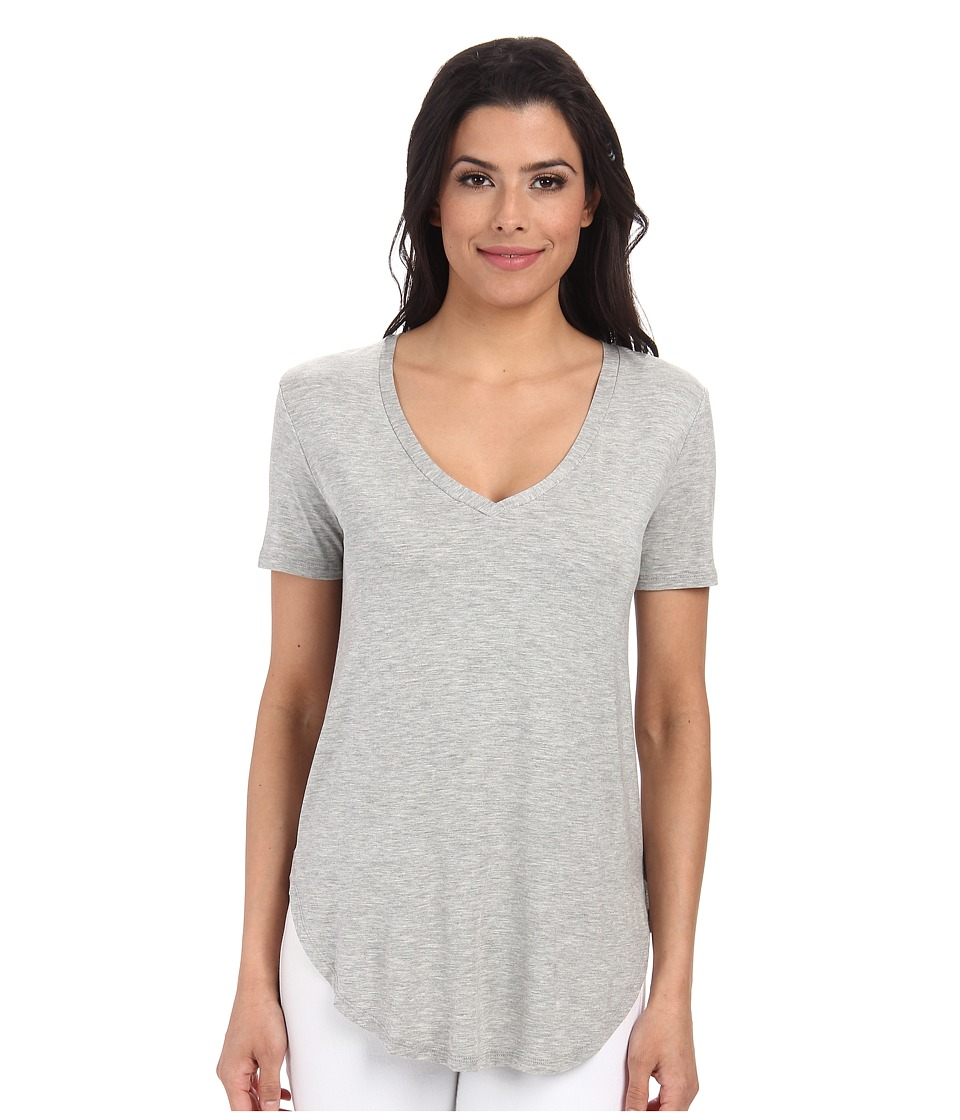 Culture Phit - Preslie Cap Sleeve Modal V-Neck Top (Heather Grey) Women's Clothing
