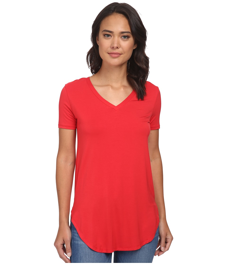 Culture Phit - Preslie Cap Sleeve Modal V-Neck Top (Red) Women's Clothing