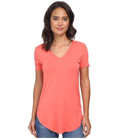 Culture Phit - Preslie Cap Sleeve Modal V-Neck Top (Coral) Women