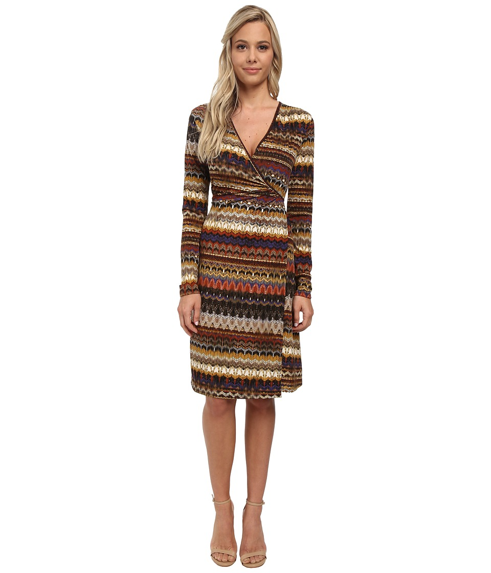 Christin Michaels - Erika Wrap Dress (Brown Print) Women's Dress