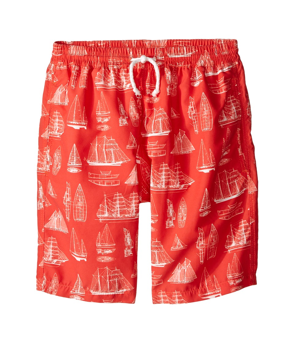 Oscar de la Renta Childrenswear - Vintage Admiral Classic Swim Shorts (Toddler/Little Kids/Big Kids) (Clementine) Boy's Swimwear