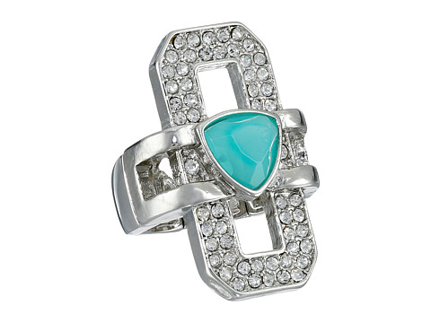 GUESS - Pave and Stone Ring (Silver/Crystal/Turquoise) Ring
