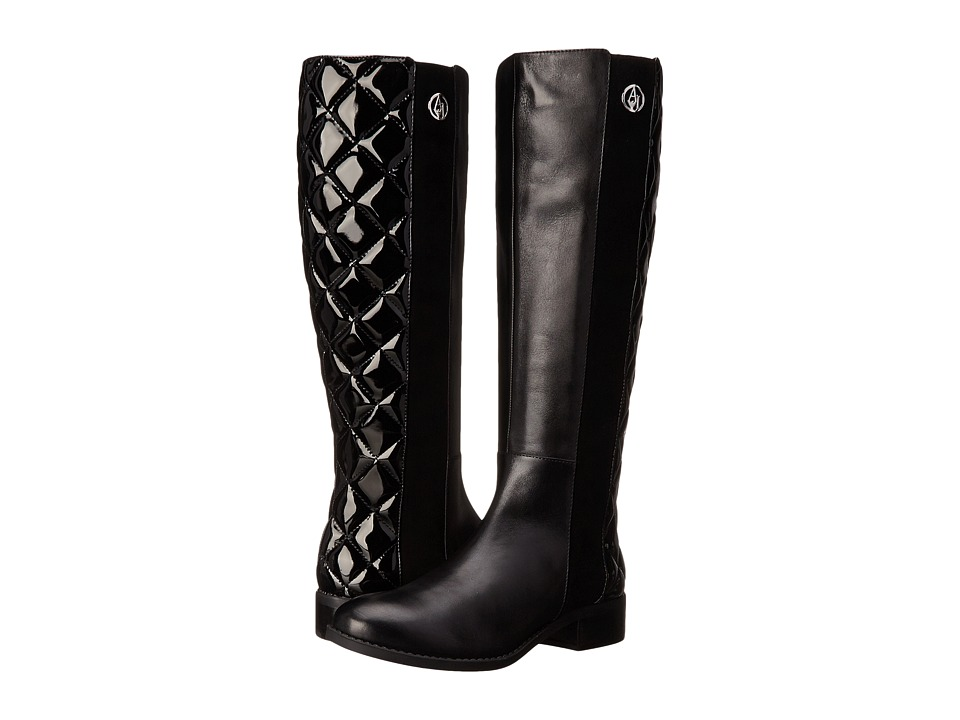 Armani Jeans - Quilted Patent Boot (Black) Women's Zip Boots