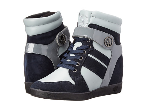 Armani Jeans - Wedge Sneaker (Blue) Women's Lace up casual Shoes