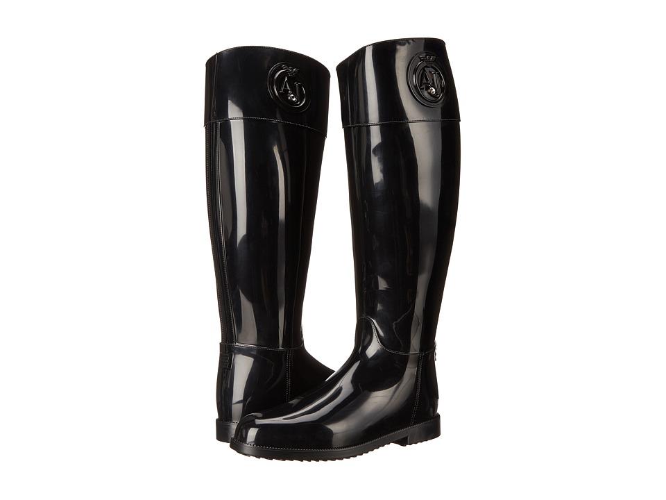 Armani Jeans - Tall Rainboot (Black) Women's Rain Boots