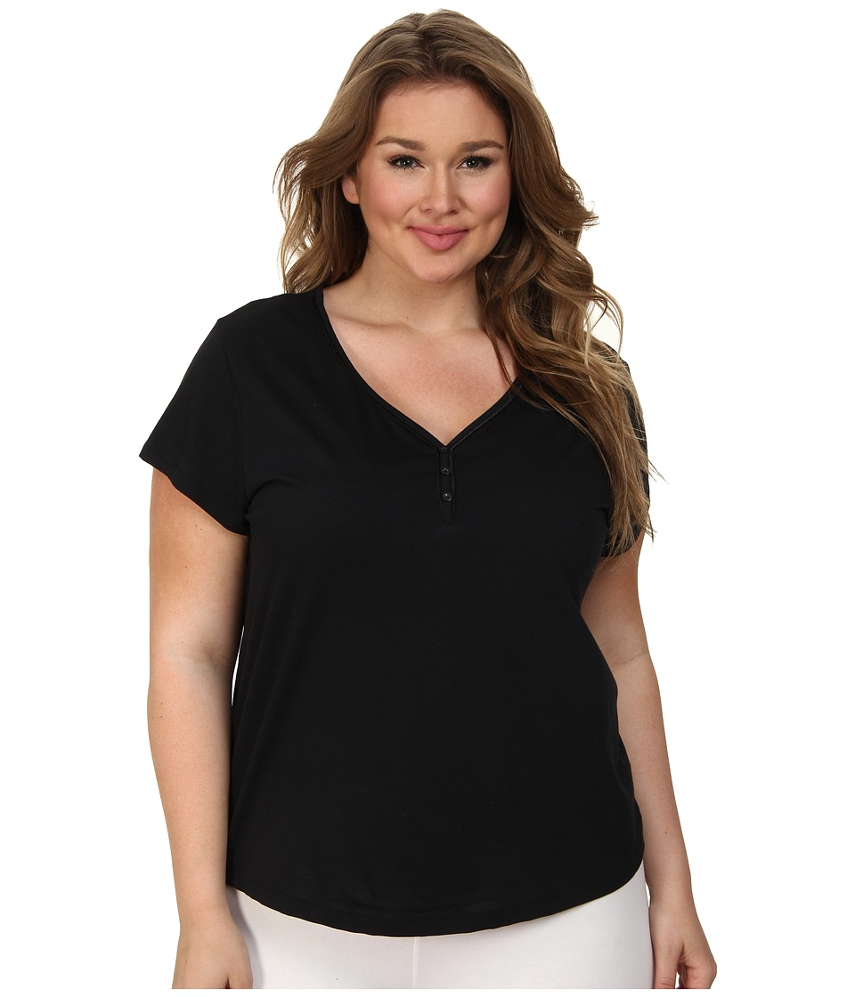 Karen Neuburger - Plus Size Le Boulevard Short Sleeve Pullover Top (Black) Women's Pajama