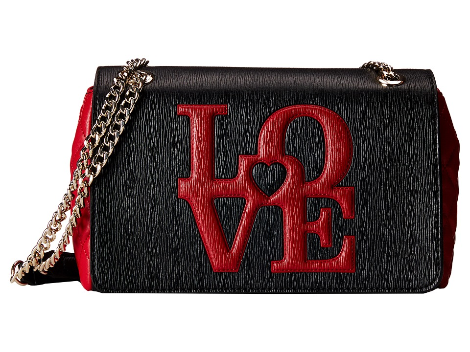 LOVE Moschino - Love Flap Bag (Black Red) Handbags