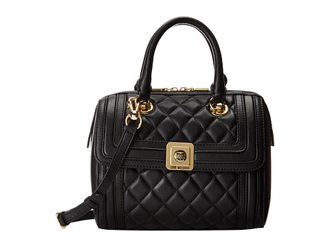 LOVE Moschino - Little Quilted Bowler Bag (Black) Handbags