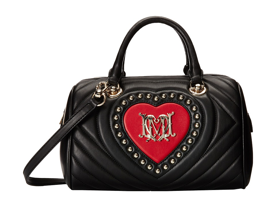 LOVE Moschino - Ribbed Bowler Bag (Black Red) Handbags