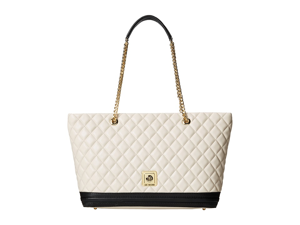 LOVE Moschino - Quilted Tote (Ivory Black) Tote Handbags