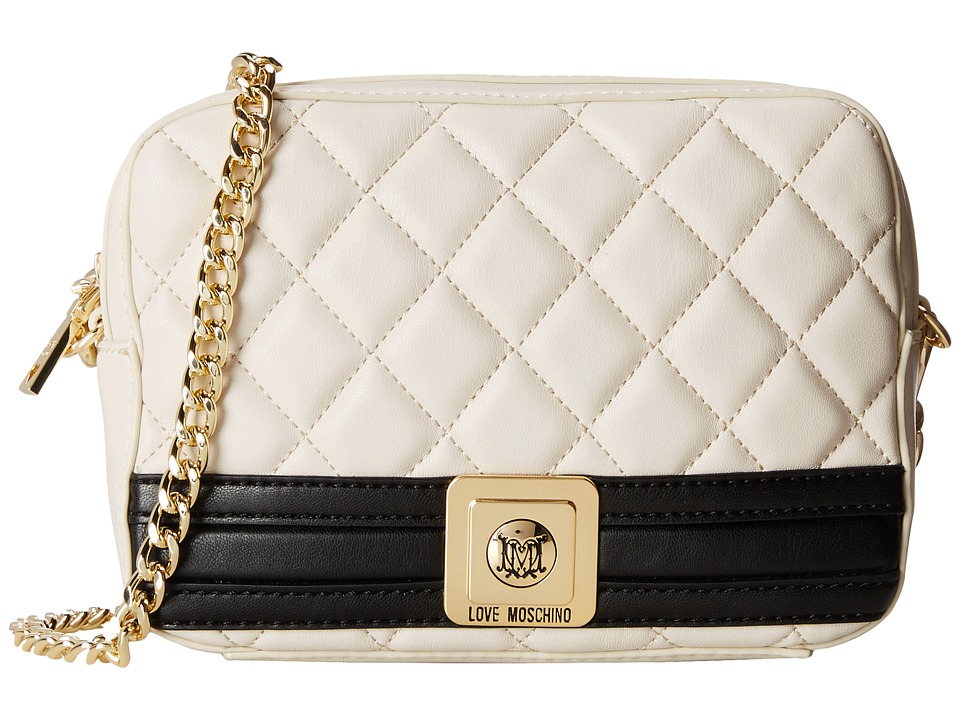 LOVE Moschino - Quilted Square Crossbody Bag (Ivory Black) Cross Body Handbags