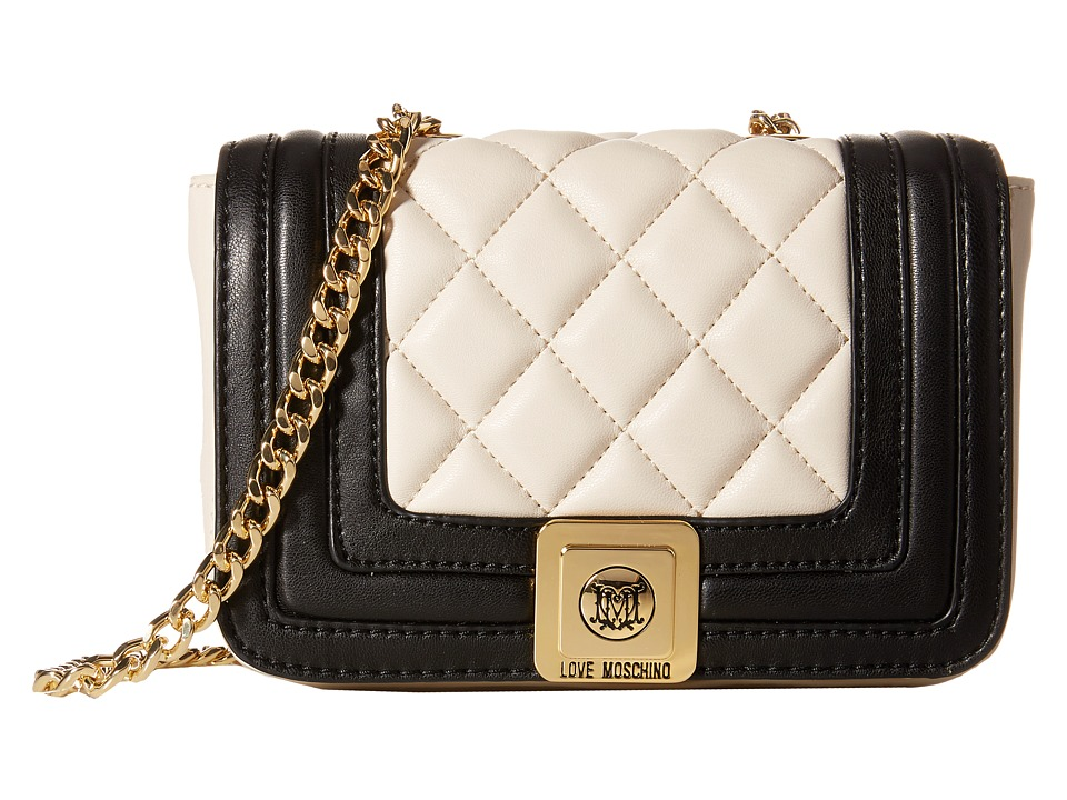LOVE Moschino - Mini Quilted Flap Crossbody Purse (Ivory Black) Cross Body Handbags