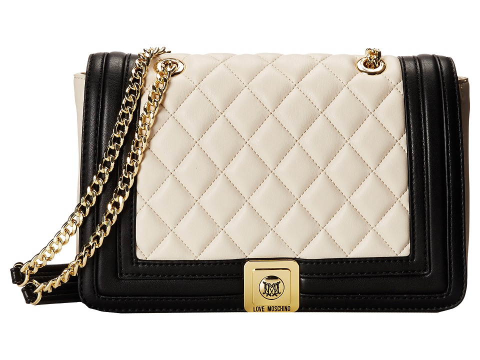 LOVE Moschino - Quilted Flap Vers Crossbody Bag (Ivory Black) Cross Body Handbags