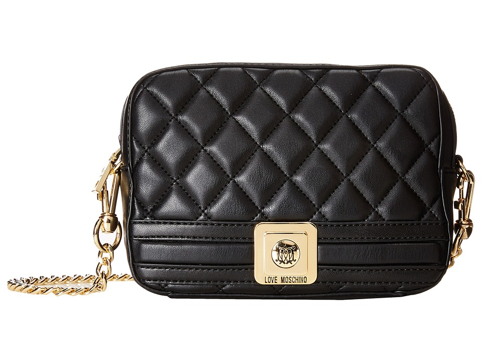 LOVE Moschino - Quilted Square Crossbody Bag (Black) Cross Body Handbags