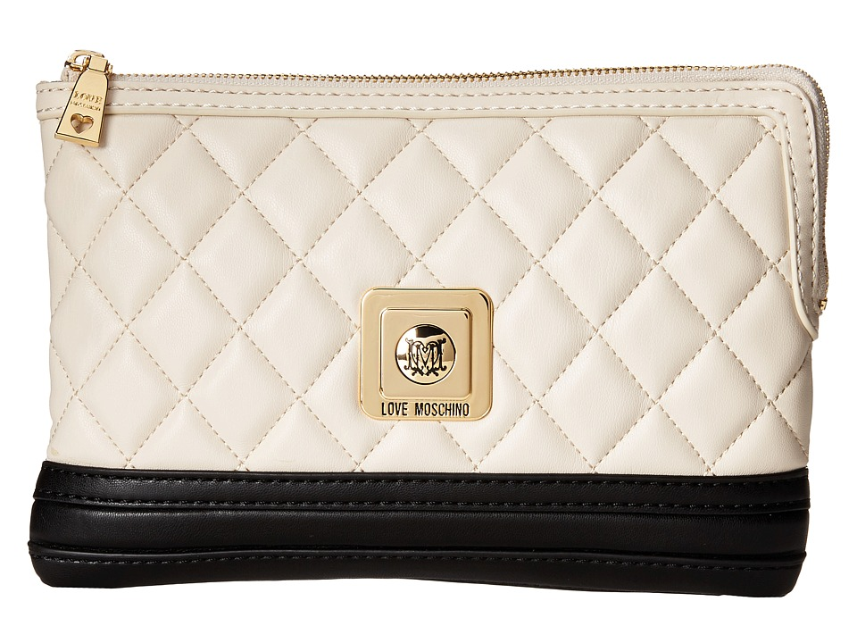 LOVE Moschino - Quilted Clutch Crossbody (Ivory Black) Cross Body Handbags