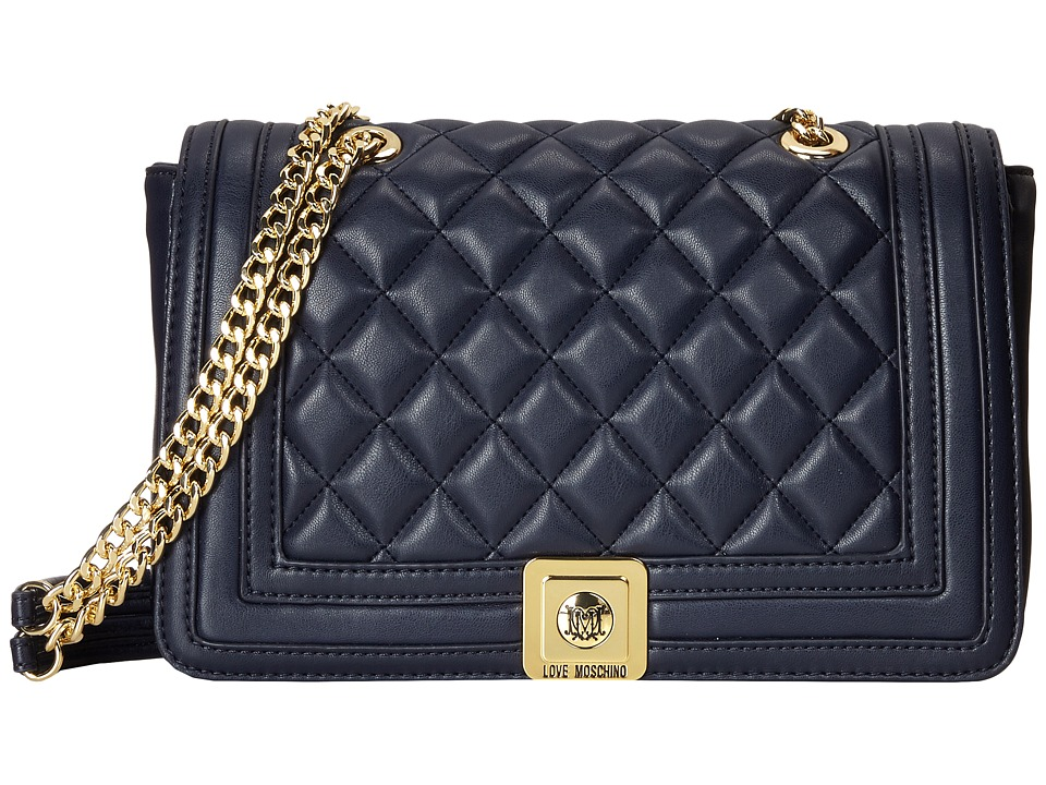 LOVE Moschino - Quilted Flap Vers Crossbody Bag (Navy) Cross Body Handbags