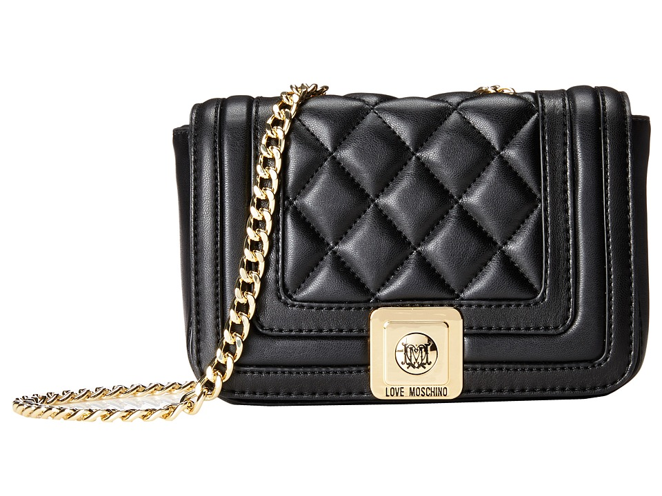 LOVE Moschino - Mini Quilted Flap Crossbody Purse (Black) Cross Body Handbags