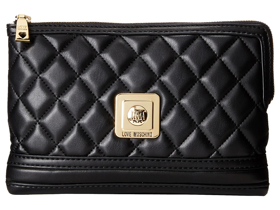 LOVE Moschino - Quilted Clutch Crossbody (Black) Cross Body Handbags