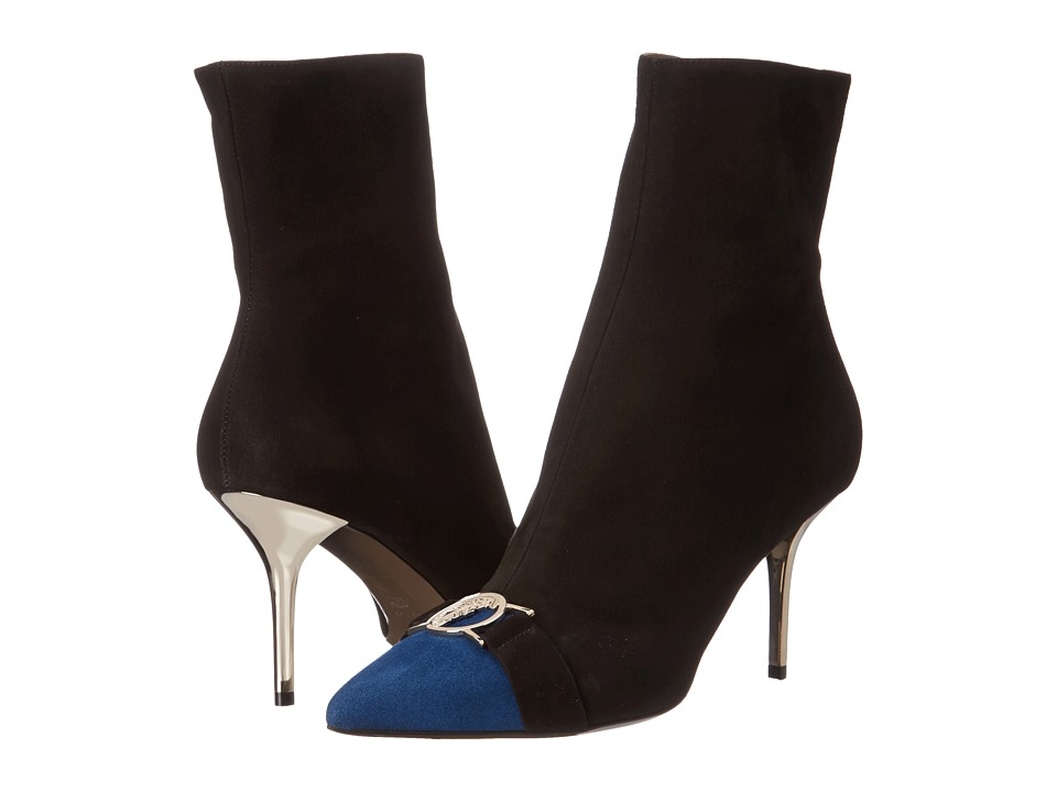 Versace Collection - Cap Toe 70mm Ankle Bootie (Black Blue) Women's Dress Zip Boots
