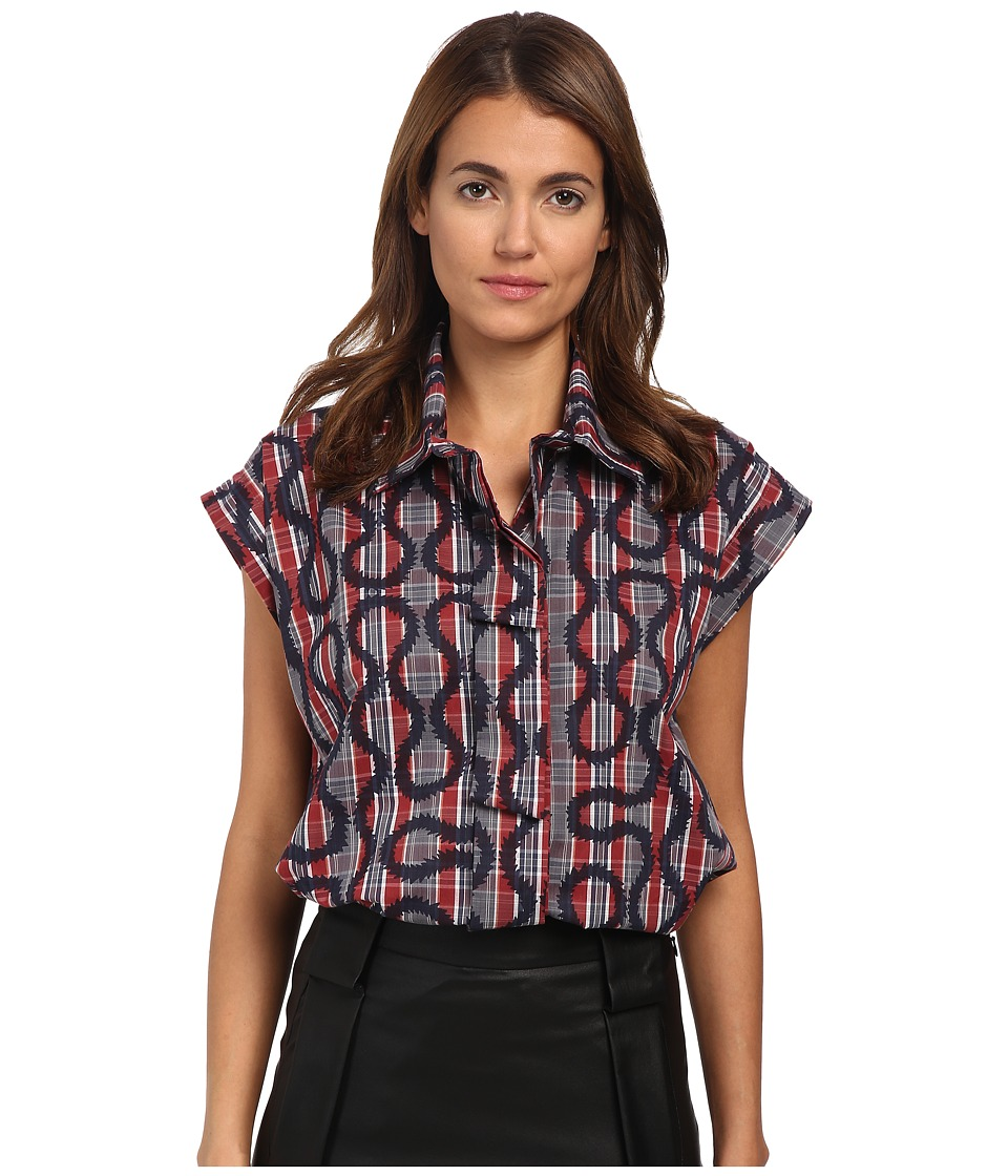 Vivienne Westwood - Band Shirt (Navy/Tartan) Women's Short Sleeve Button Up