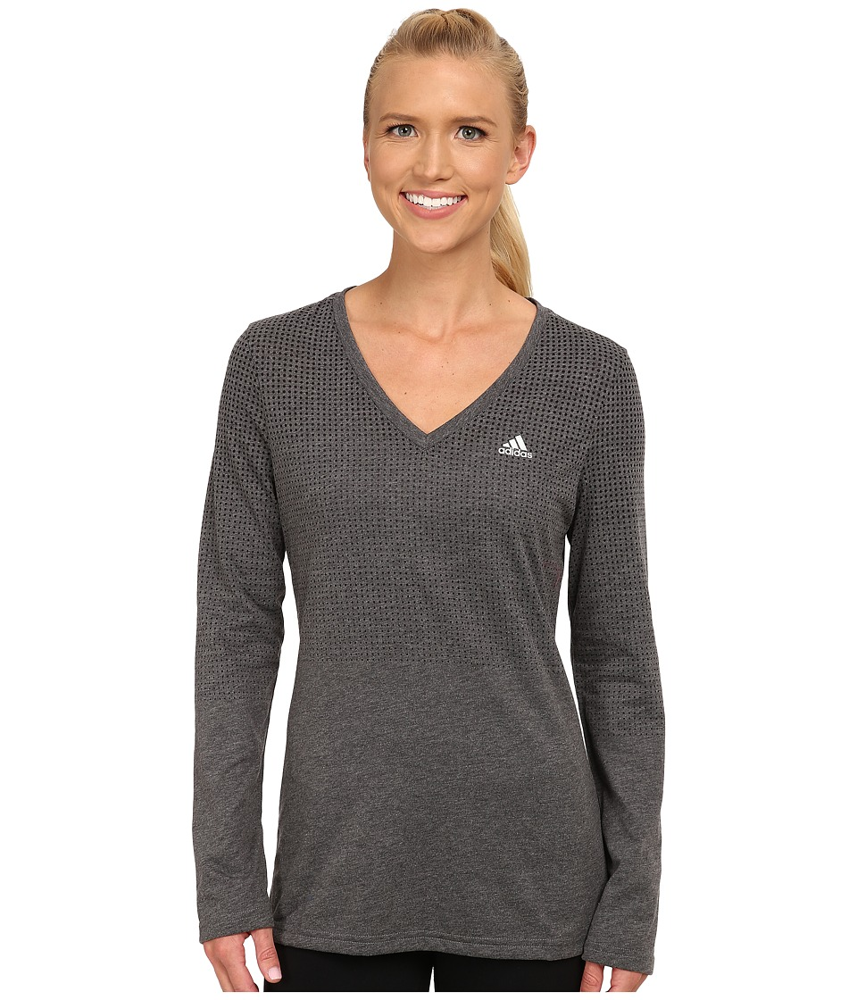 adidas - CLIMACOOL Aeroknit Long Sleeve Tee (Black Heather) Women