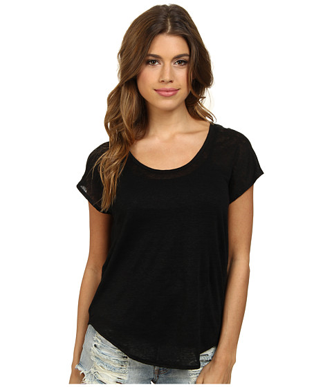Chaser - Oversized Dropped Shoulder Top (Black) Women's Short Sleeve Pullover